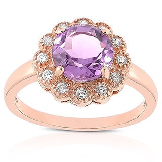 Dolce Giavonna Rose Gold Over Sterling Silver Amethyst and Cubic Zirconia Flower Ring