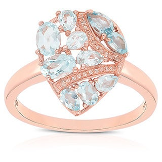 Dolce Giavonna Rose Gold Over Sterling Silver Blue Topaz and Cubic Zirconia Teardrop Ring