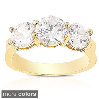 Dolce Giavonna Gold or Silver Overlay Cubic Zirconia Engagement Ring