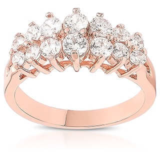Dolce Giavonna Rose Gold Overlay Cubic Zirconia Two-row Band Ring