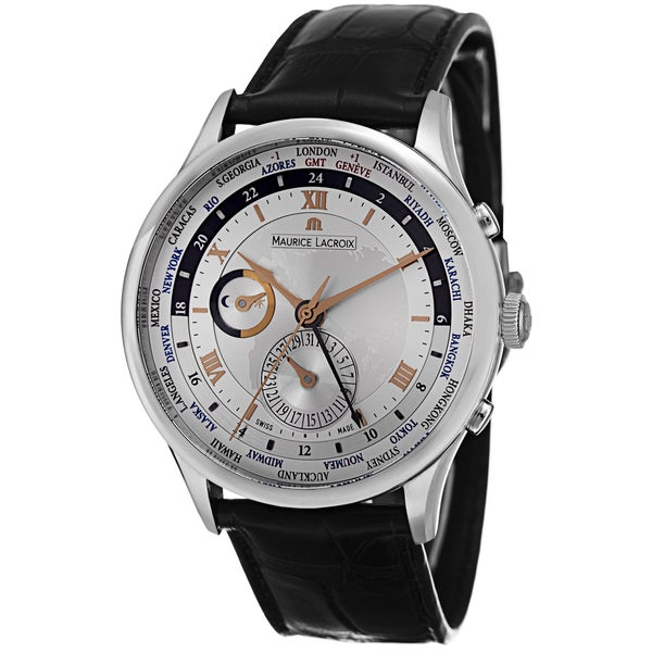 Maurice Lacroix Men's MP6008-SS001-110 'MasterPiece' Silver Dial Brown Leather Strap WorldTimer Watch