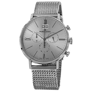 Maurice Lacroix Men's EL1088-SS002-110 'Eliros' Silver Dial Stainless Steel Mesh Chronograph Watch