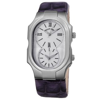 Philip Stein Women's 2-NCW-LAPR 'Signature' Silver Dial Purple Leather Strap Dual Time Quartz Watch