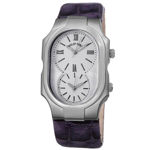 Philip Stein Women's 2-NCW-LAPR 'Signature' Silver Dial Purple Leather Strap Dual Time Quartz Watch
