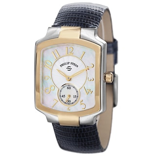 Philip Stein Women's 21TG-FW-ZN 'Signature' Mother of Pearl Dial Blue Leather Strap Two Tone Watch