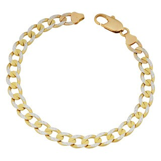 Fremada 14k Two-tone Gold Satin and Diamond-cut Finish Solid Double Sided Oval Link Bracelet (8 inches)