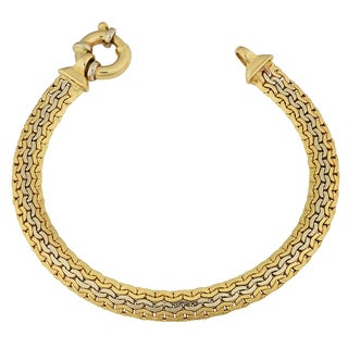 Fremada 14k Two-Tone Gold High Polish Flat Link Bracelet