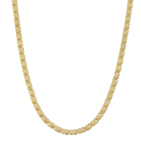 Fremada 14k Yellow Gold High Polish Mirror Heart Necklace (18 inches)