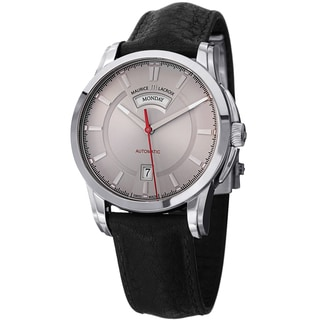 Maurice Lacroix Men's PT6158-SS001-231 'Pontos' Grey Dial Black Leather Strap Automatic Watch