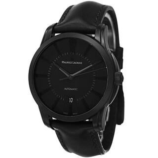 Maurice Lacroix Men's PT6148-PVB01-330 'Pontos' Black Dial Black Leather Strap Automatic Watch