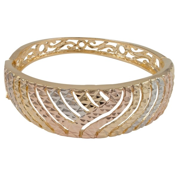 Luxiro Gold Finish Tri-color Etched Filigree Wide Bangle Bracelet 14466449