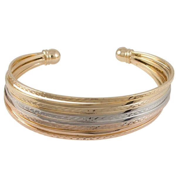 Tri-tone Gold 9-row Layered Hammered Cuff Bangle Bracelet