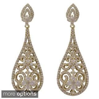 Sterling Silver Cubic Zirconia Filigree Teardrop Bridal Earrings
