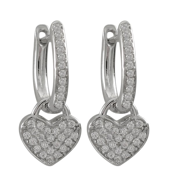 Sterling Silver Pave Cubic Zirconia Heart Drop Earrings