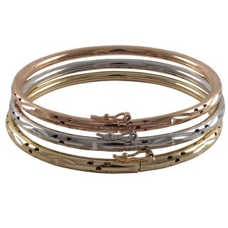 Tri-tone Perforated Etched Stackable Bangles Bracelet (Set of 3)