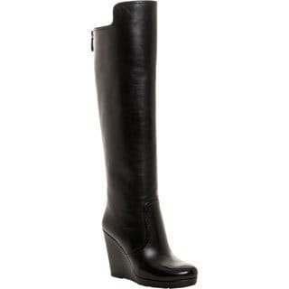 Prada Women's Leather Wedge Knee-High Boots