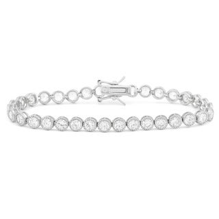 Gioelli Sterling Silver 8.5 TCW Round-cut Cubic Zirconia Milgrain Tennis Bracelet