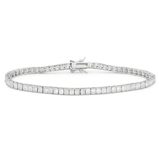 Sterling Silver 6 4/5ct TGW Princess-cut Cubic Zirconia Tennis Bracelet