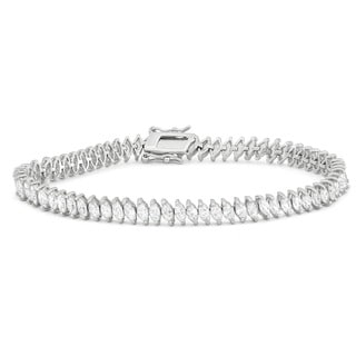 Gioelli Sterling Silver 9.8 TCW Marquise-cut Cubic Zirconia Tennis Bracelet