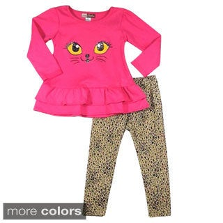 Girls Cat-eye and Animal Print Leggings 2-piece Set