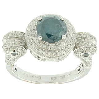Suzy Levian Roman Pillar 14k White Gold 2.58ct TDW Blue and White Diamond Ring (I2-I3, G-H, VS1-VS-2, S!-S2)
