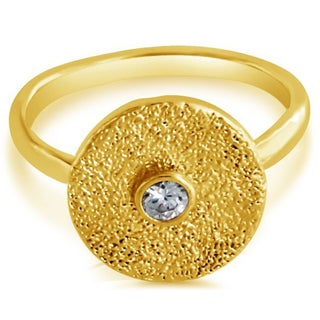 Belcho Cubic Zirconia Textured Round Plate Fashion Ring