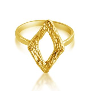 Belcho Gold Overlay Hammered Square Ring