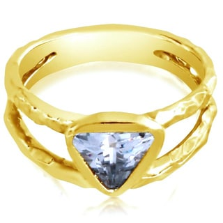 Belcho Hammered Double Band Triangle CZ Ring