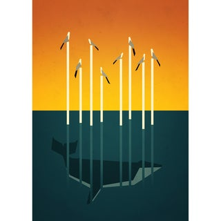 Epic Art Yetiland 'Seagulls and a Whale' Unframed Giclee Print Art