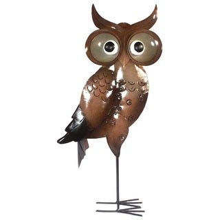 Large Iron Brown Standing Owl Decor (Indonesia)