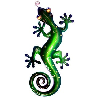 Small Iron Green Gecko Wall Decor (Indonesia)