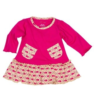 Girls' Pink Elephants Organic Pocket Dress