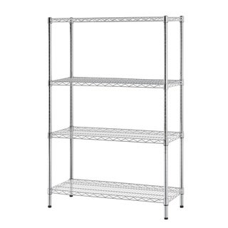 Multi-purpose 4-tier Chrome Wire Shelving Unit