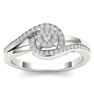De Couer 10k White Gold 1/5ct TDW Diamond Promise Fashion Ring (H-I, I2)