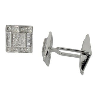 Sterling Silver Men's Micro-pave Cubic Zirconia Modern Raised Square Cufflinks
