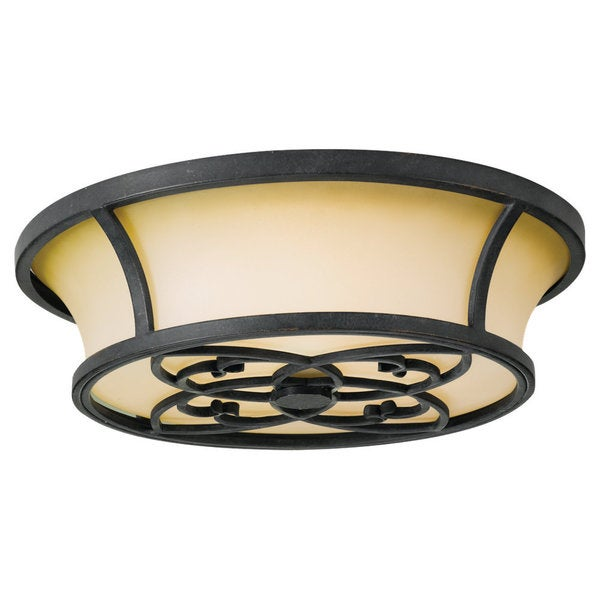 Kg's Table Forged Iron 3-light Flush Mount Fixture