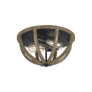 Allier Weathered Oak Wood/ Antique Forged Iron 2-light Flush Mount Fixture