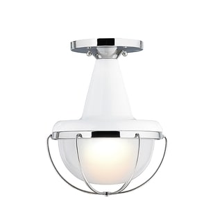 Livgston High Gloss White/ Polished Nickel 1-light Flush Mount Fixture