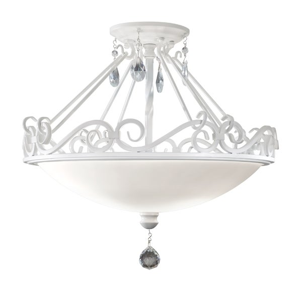Chateau Semi Semi Gloss White 2-light Semi Flush Fixture