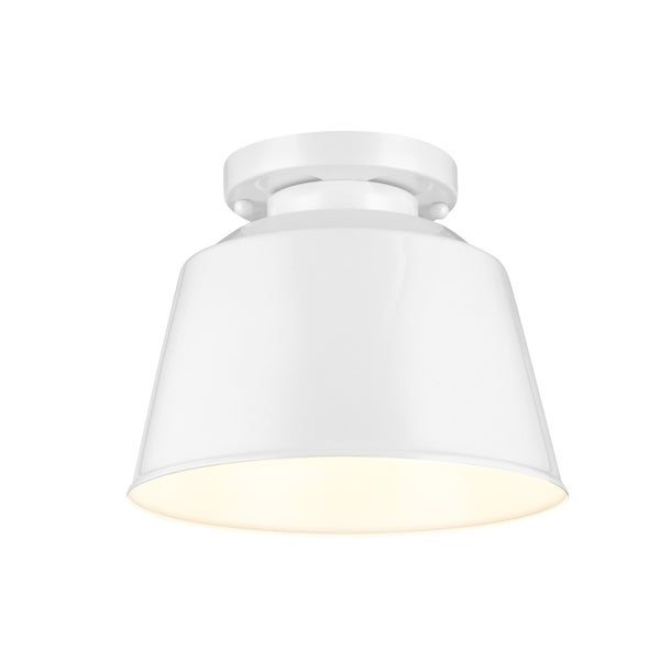 Freemont Semi Hi Gloss White 1-light Semi Flush Fixture