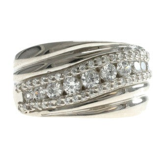 Dallas Prince Sterling Silver Round-cut Cubic Zirconia Ring