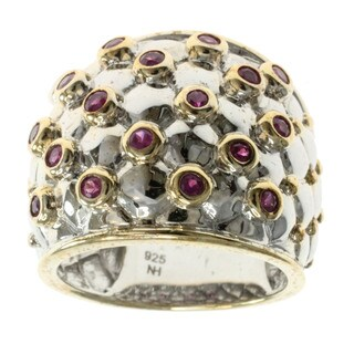 Michael Valitutti Goldtone Silver Ruby Ring