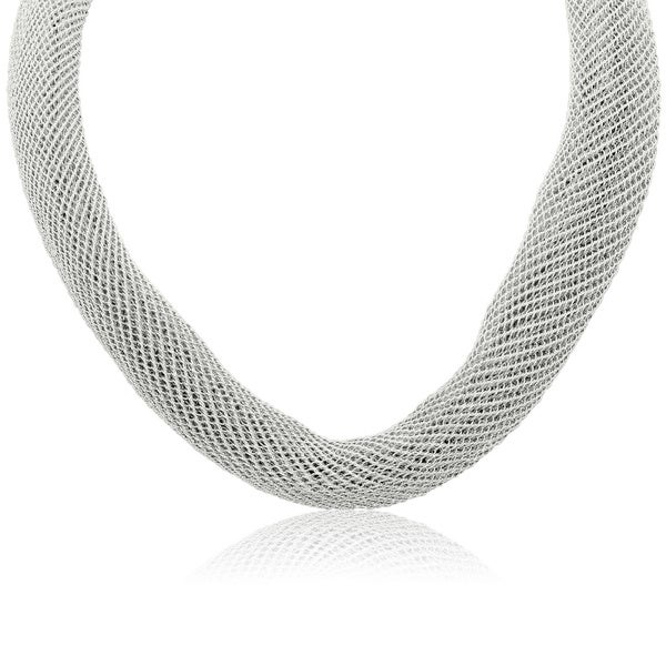 Gioelli Italian Sterling Silver Adjustable Mesh Necklace
