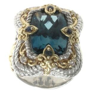 Dallas Prince London Blue Topaz, White Topaz and Blue Sapphire Ring