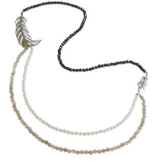 Dallas Prince Multi-stone Bead 'Feather' Necklace