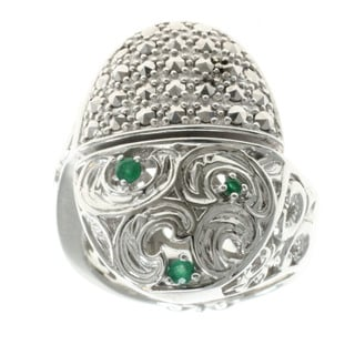 Dallas Prince Sterling Silver Marcasite and Emerald Ring