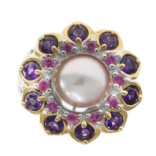 Dallas Prince Pearl Ring with Amethyst and Pink Tourmaline Accents (9.5-10.5 mm)