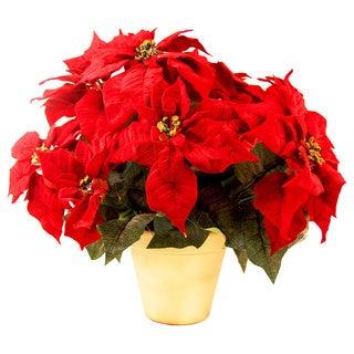 Silk Red Poinsettia Planter