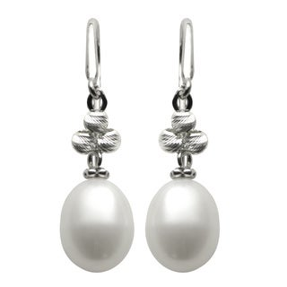 Pearls For You Sterling Silver Freshwater Pearl and Brilliance Bead Dangle Earrings (8.5-9 mm)