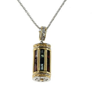 Michael Valitutti Multi Gemstone Spin Barrel Pendant